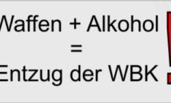 Waffen + Alkohol = Entzug der WBK